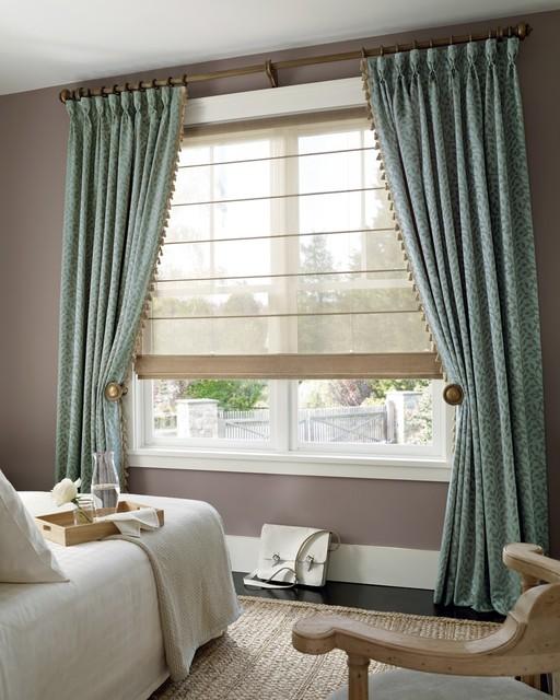 Hunter douglas roman shades and custom drapes for 2 way window blinds