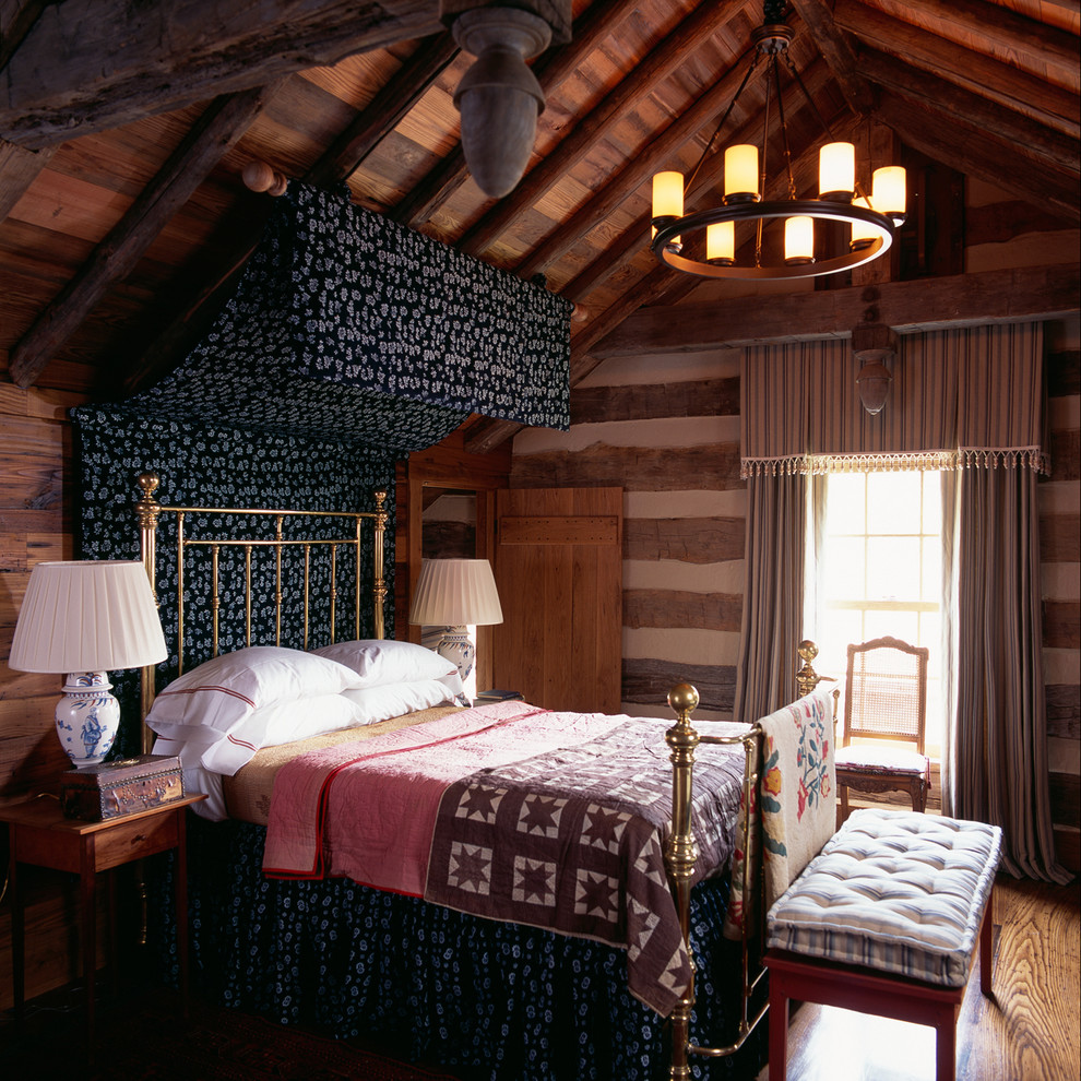 Mountain style medium tone wood floor bedroom photo in DC Metro