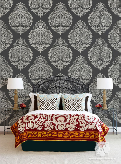 Indian & Paisley Wall Stencil Projects - Orientale - Camera da Letto ...