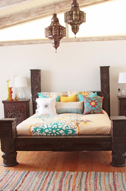 Indian Bed Eclectic Bedroom los angeles by Tara Design