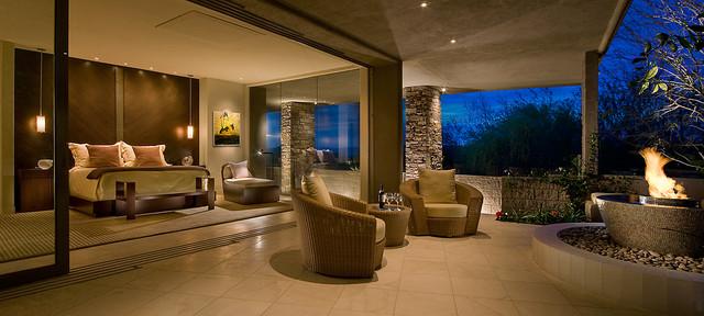 indoor outdoor master bedroom contemporary bedroom