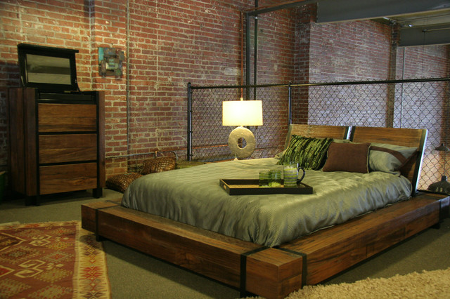 industrial chic wood platform bed industrial bedroom