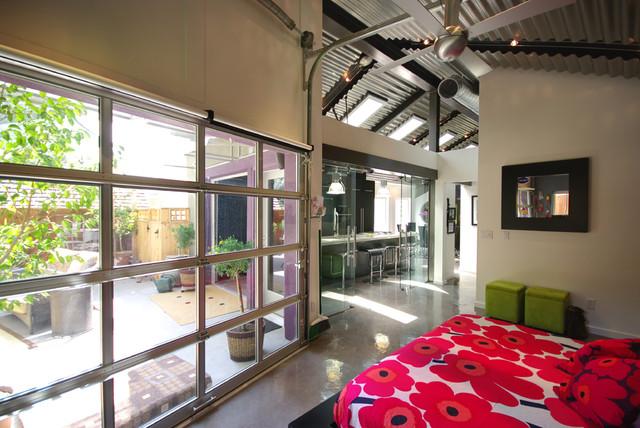 diy garage cabinet ideas - Contemporary Murphy Bed with Glass Garage Doors