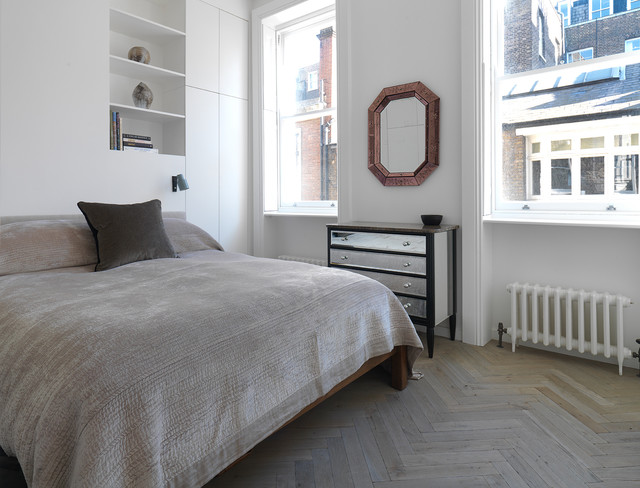 Industrial grey antique oak parquet harley street london Industrial scandinavian bedroom