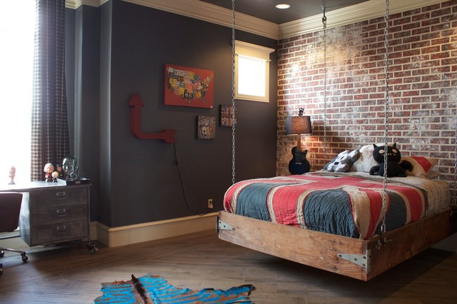 industrial kids room with hanging bed and dark walls industrial bedroom oklahoma city - Chambre Loft Industriel