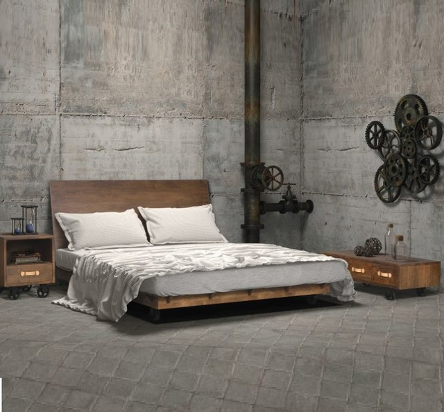 Industrial loft bedroom for Bedroom ideas industrial