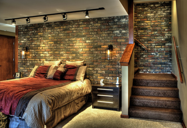 Industrial design on pinterest Brick wall bedroom design
