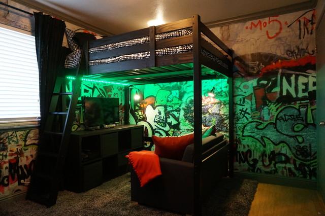 Industrial teenage bedroom for Bmx bedroom ideas