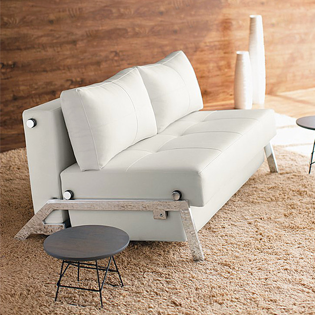 Innovation Living Cubed Deluxe White Leather Convertible Sofa