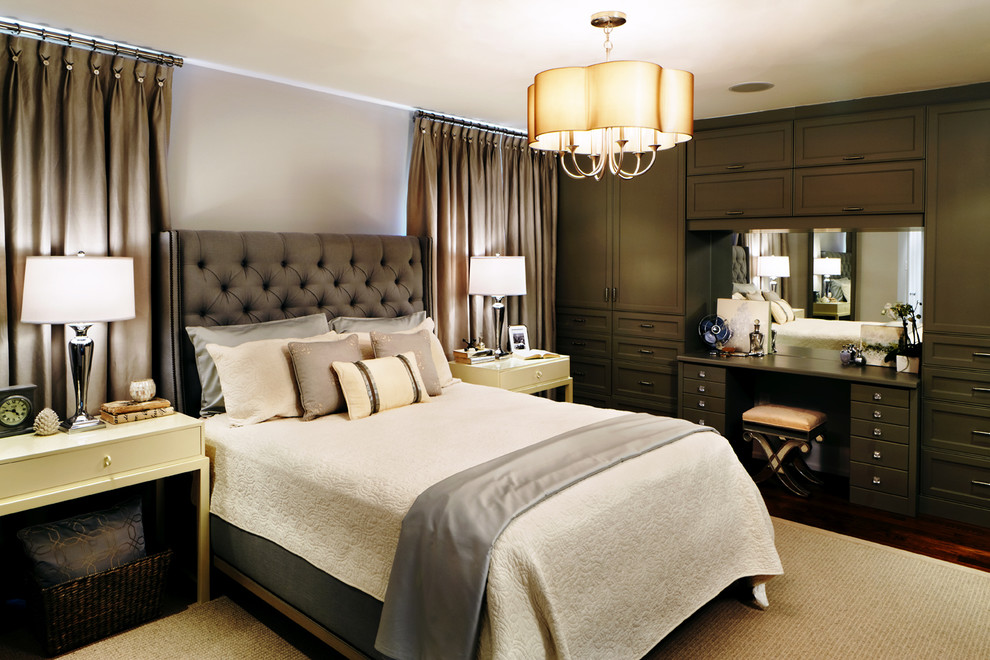 Inspiration for a timeless master dark wood floor bedroom remodel in Toronto with gray walls and no fireplace