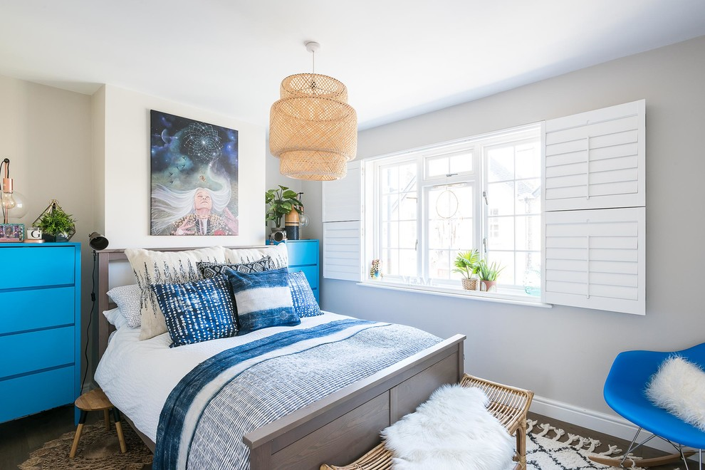 Inspiration for a mid-sized coastal bedroom remodel in London