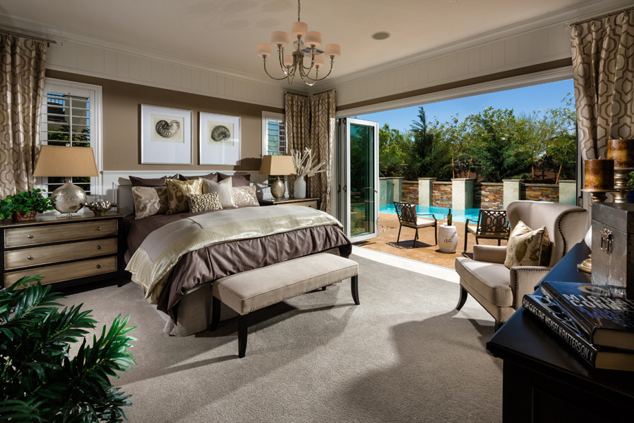 Example of a mid-sized transitional master carpeted and gray floor bedroom design in Las Vegas with brown walls and no fireplace