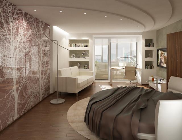 Interior photographic glass walls modern bedroom