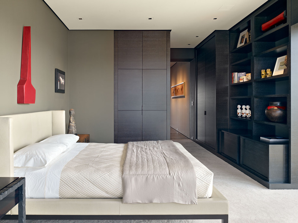 Bedroom - modern carpeted bedroom idea in San Francisco with gray walls