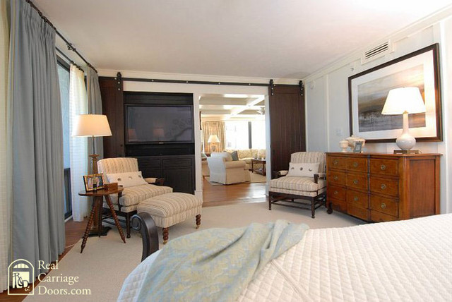 Interior Sliding Barn Doors On Master Bedroom Bedroom By Real Carriage Door Company