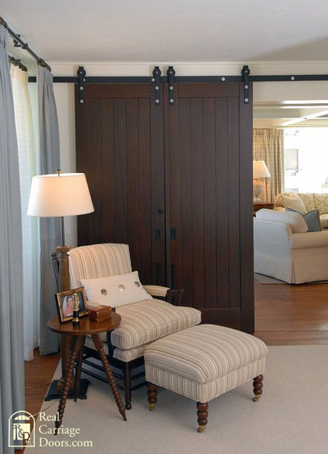 Interior sliding barn doors on master bedroom bedroom for Bedroom closet barn doors
