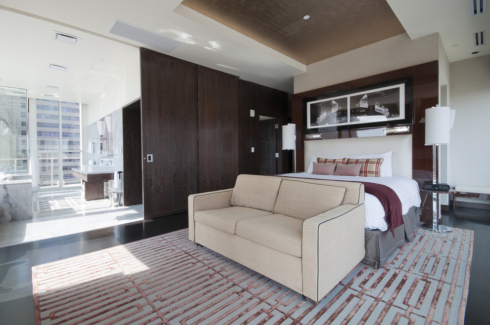 Bedroom - contemporary bedroom idea in Dallas with white walls