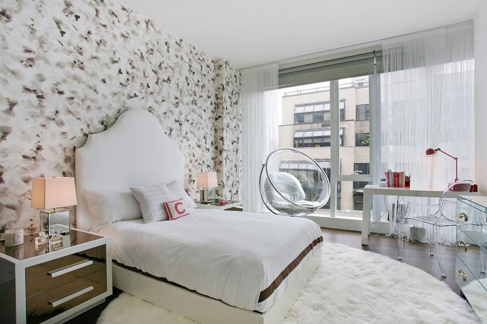 Bedroom - contemporary dark wood floor bedroom idea in Tampa with multicolored walls