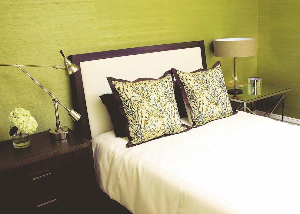 Bedroom - transitional bedroom idea in San Francisco with green walls