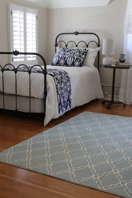Iron Bed Blue And White Bedding Anthropologie Style Traditional Bedroom Los Angeles By