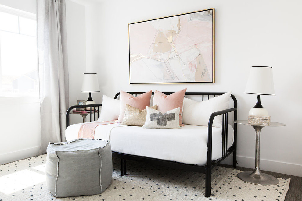 Transitional guest bedroom photo in Salt Lake City with white walls