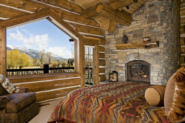 Jackson Hole, WY, Log Home rustic-bedroom