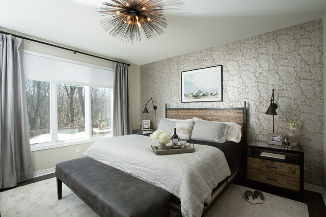 Inspiration for a mid-sized eclectic master dark wood floor and brown floor bedroom remodel in Other with gray walls