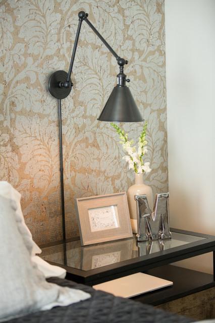 Bedroom - mid-sized eclectic master dark wood floor and brown floor bedroom idea in Other with gray walls