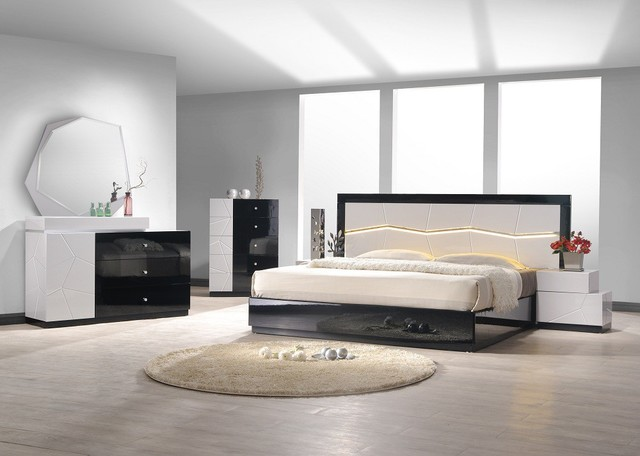 Ju0026M Furniture Turin Bedroom Set In Light Grey And Black Lacquer  Modern Bedroom