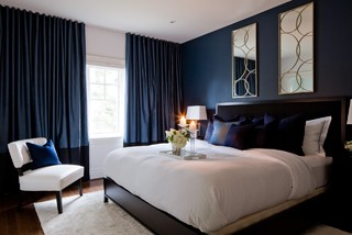 Jane Lockhart Bedroom With Dark Navy Walls Transitional