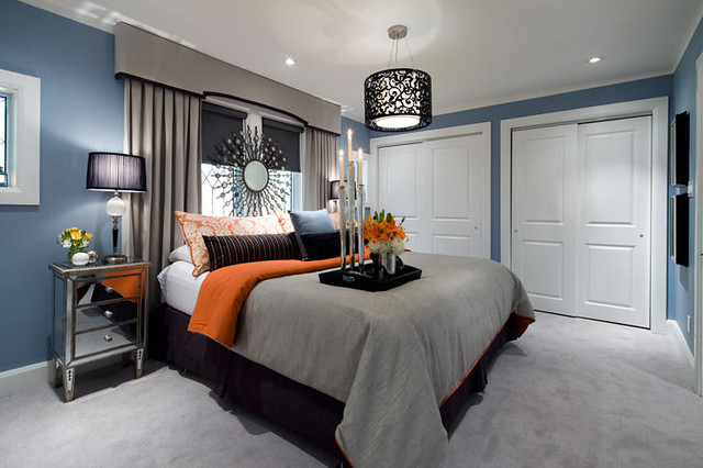 Elegant Jane Lockhart Blue/Gray/Orange Bedroom Contemporary Bedroom