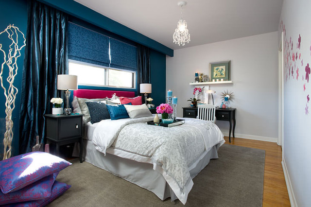 Jane lockhart blue pink bedroom contemporary bedroom for Pink and blue bedroom