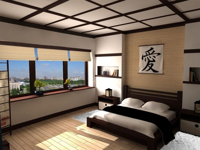 Example of a zen bedroom design in Other
