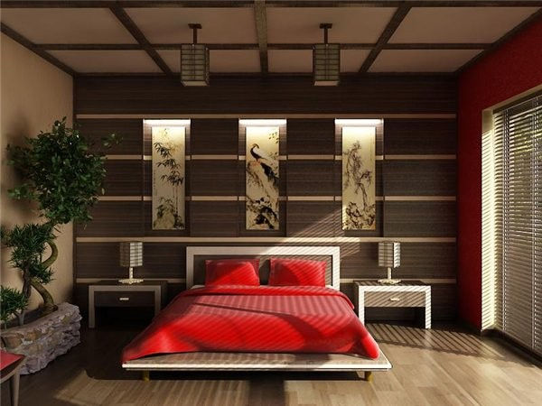 Japanese style bedroom for Asian room decoration
