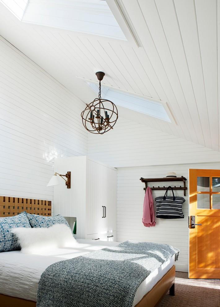 Trendy master bedroom photo in Edmonton with white walls