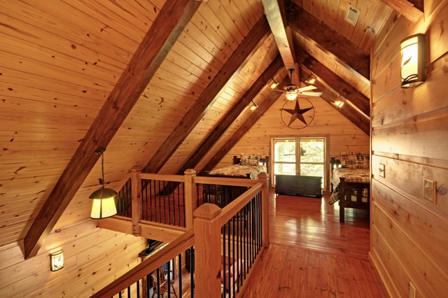 Jawbone Cabin Timber Frame Loft Eclectic Bedroom By