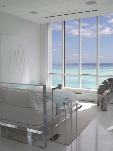 Jennifer Post designed apartment  at The Bath Club, Miami Beach modern bedroom