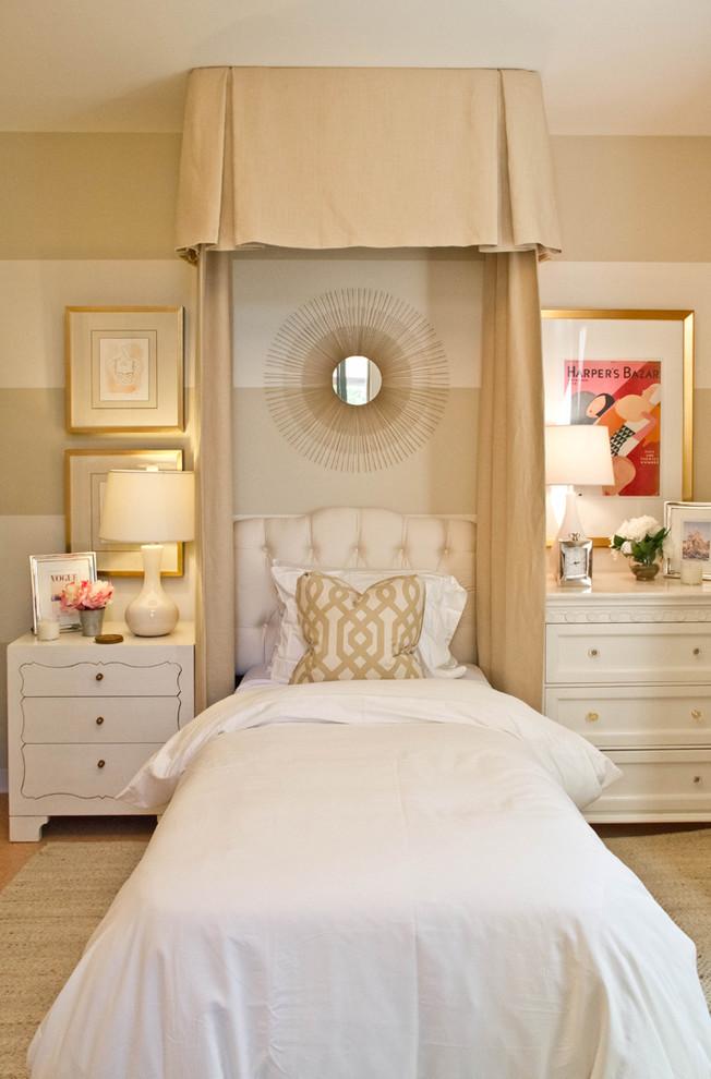 Elegant bedroom photo in Los Angeles with beige walls