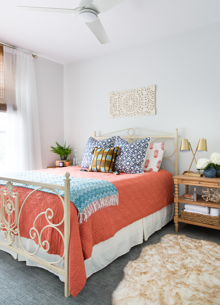 Inspiration for a transitional carpeted and gray floor bedroom remodel in Austin with white walls