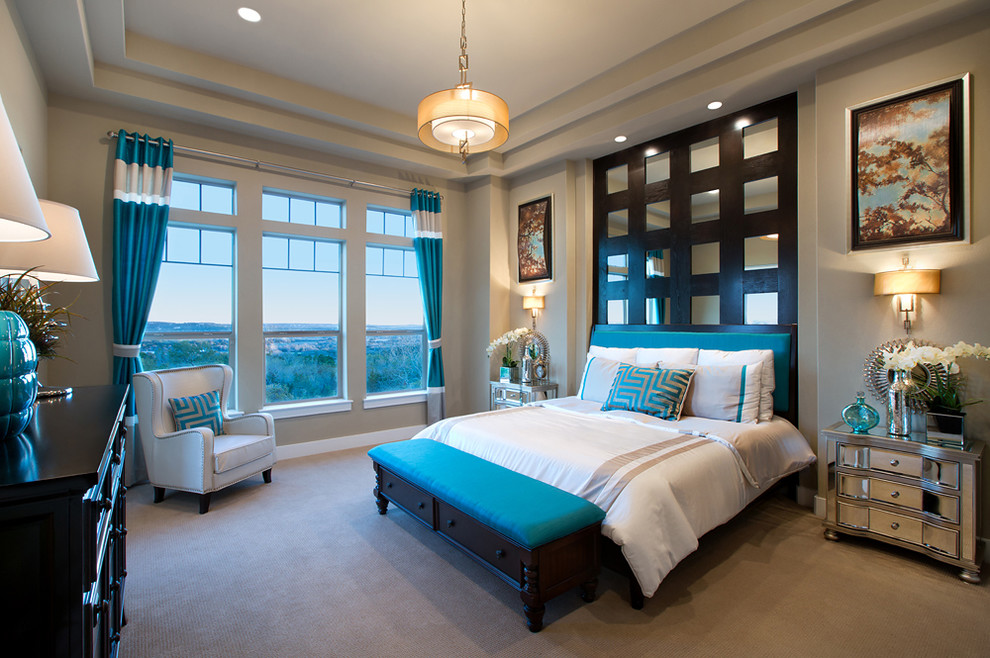 Bedroom - contemporary carpeted bedroom idea in Austin with gray walls
