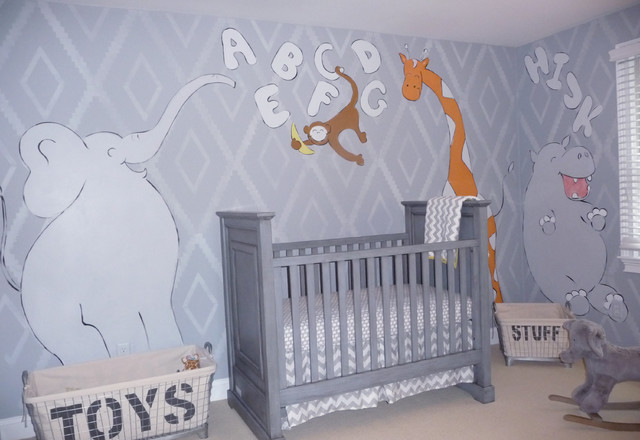 Jungle Animal Nursery Mural And Custom Stencil Contemporary Bedroom Boston By Crowley Art Studio Houzz Uk