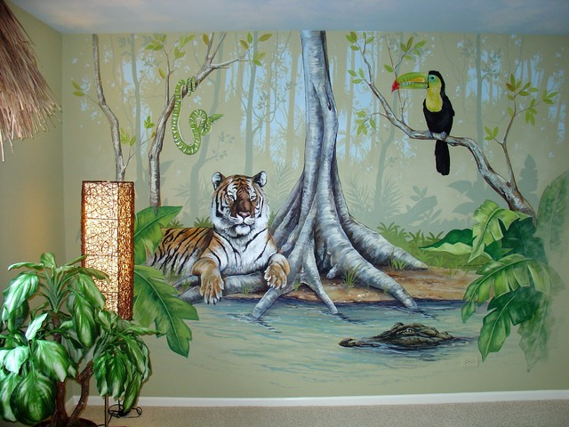 Jungle room tropical bedroom chicago by joe helms for Animal wall mural
