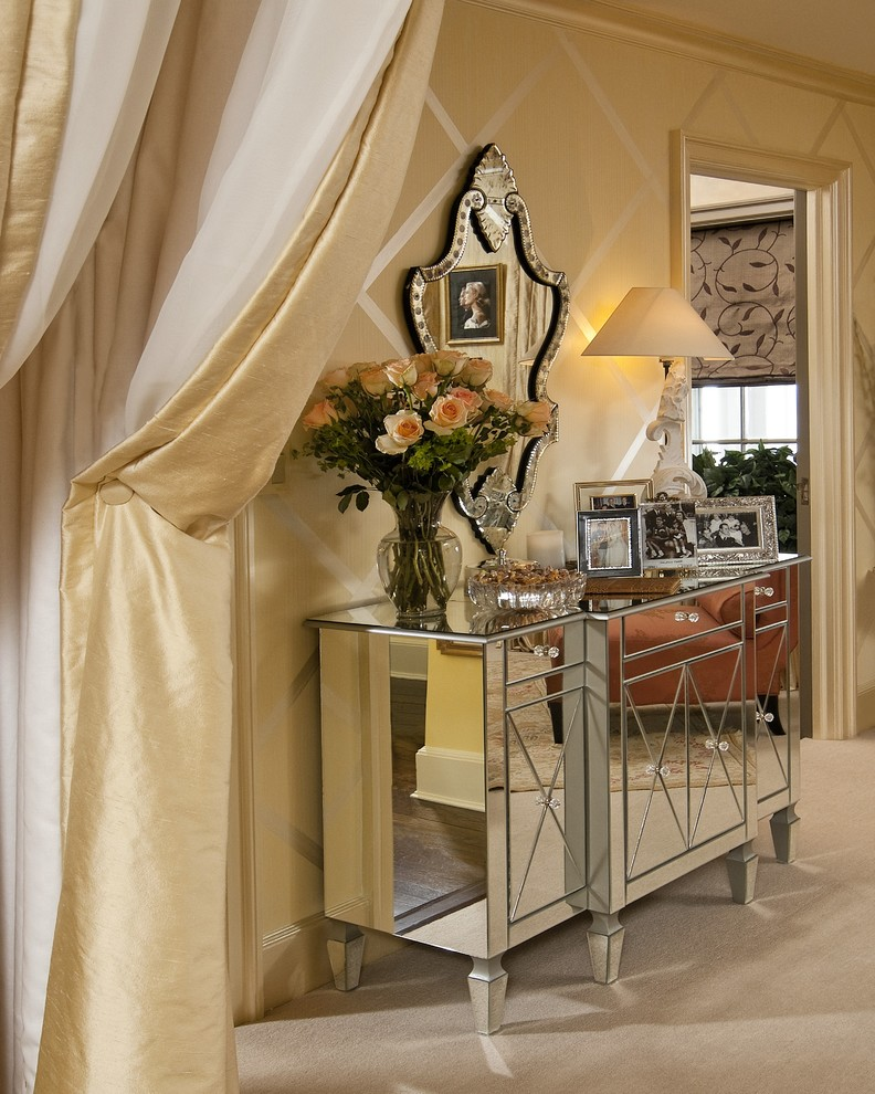 Example of a mid-sized classic master carpeted and beige floor bedroom design in New York with beige walls