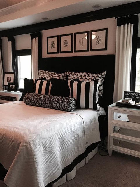 Bedroom - mid-sized contemporary master carpeted bedroom idea in Atlanta with white walls