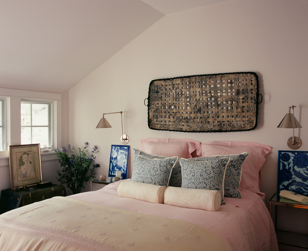 Example of a cottage chic bedroom design in Los Angeles with beige walls