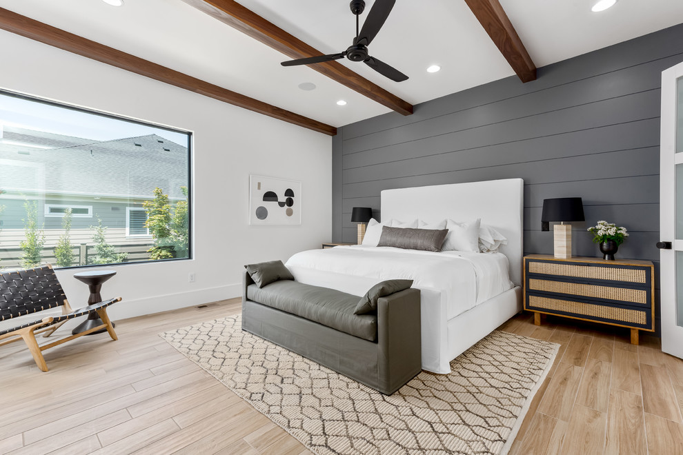 Bedroom - large contemporary master porcelain tile and beige floor bedroom idea in Salt Lake City with gray walls and no fireplace