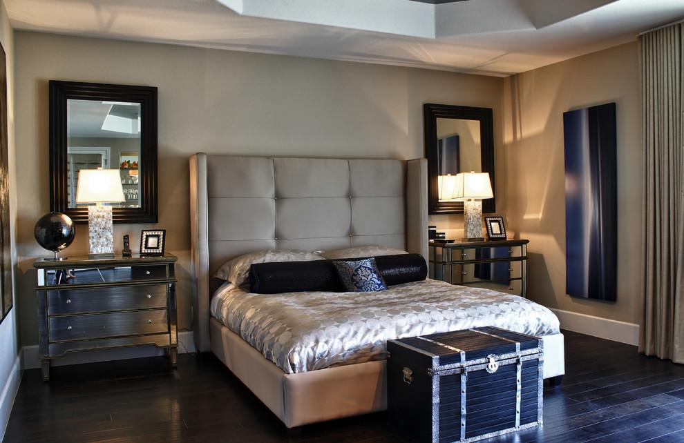 Elegant dark wood floor bedroom photo in Las Vegas with gray walls