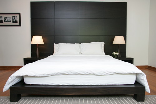are bedside tables built into headboard unit. Black Bedroom Furniture Sets. Home Design Ideas