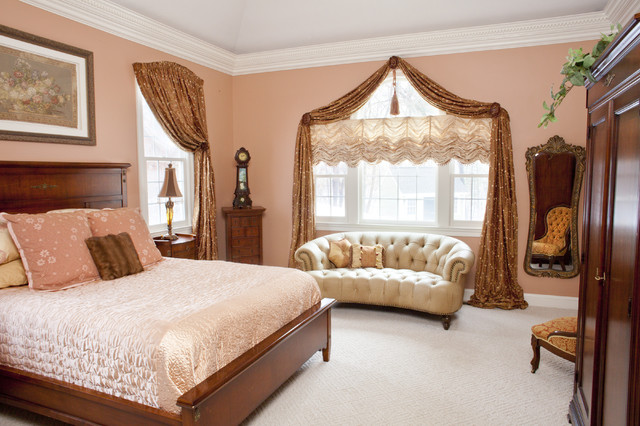 window treatments for bedroom. Large traditional master carpeted bedroom idea in Boston with pink walls Bedroom Window Treatment  Houzz