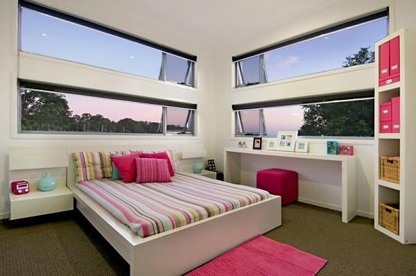 kids bedroom with interesting windows. Black Bedroom Furniture Sets. Home Design Ideas